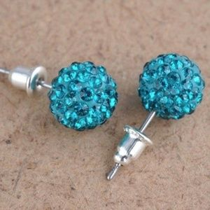 Jewelry - Aqua Blue Shamballa Disco Ball Crystal Studs NWT